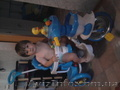 велосипед для мальчика. голубой с уточками
